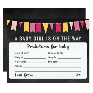 Baby Predictions Chalkboard Baby Shower Game Card