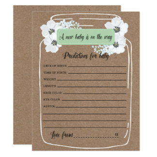 Baby Predictions Mason Jar Baby Shower Game Card