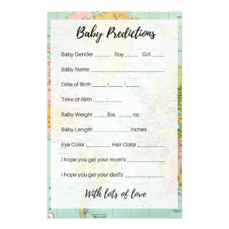 Baby Predictions - Multicolor Map Flyer