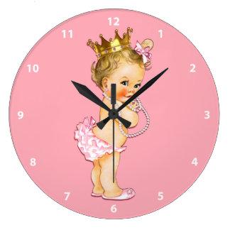Baby Princess and Pearls Pink Large Clock