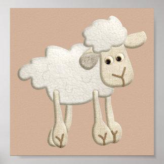 BABY PUFFY LAMB SHEEP TEXTILE ART CARTOON CUTE FAR POSTER
