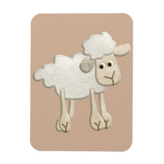 BABY PUFFY LAMB SHEEP TEXTILE ART CARTOON CUTE FAR RECTANGULAR PHOTO MAGNET