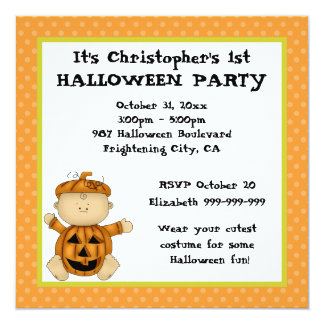 Baby Pumpkin Kid First Halloween Party 13 Cm X 13 Cm Square Invitation Card