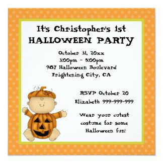 Baby Pumpkin Kid First Halloween Party Card