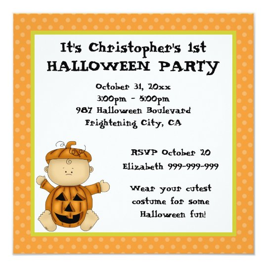 Baby Pumpkin Kid First Halloween Party Card