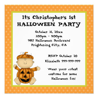Baby Pumpkin Kid First Halloween Party Invitations