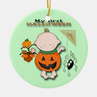 Baby Pumpkin My 1st Halloween Round Ornament
