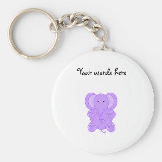 Baby purple elephant basic round button key ring