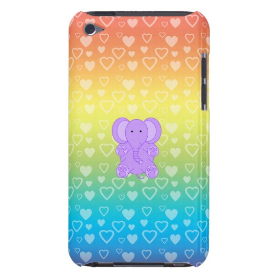 Baby purple elephant rainbow hearts barely there iPod cases