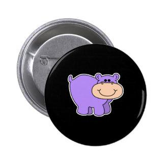 baby purple hippo 6 cm round badge