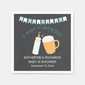 Baby-Q Baby is Brewing Boy Shower Napkin Disposable Napkin