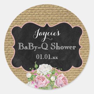 BaBy-Q Shower Burlap Mason Jar Circle Sticker