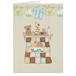 Baby Quilt Thank You with Verse Note Card