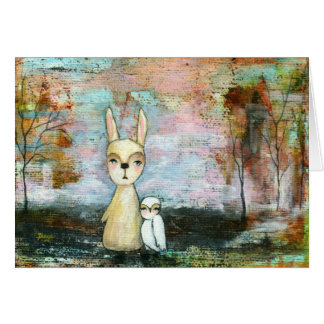 Baby Rabbit Baby Owl Whimsical Woodland Creatures Card