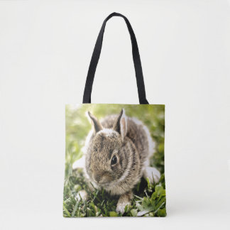 Baby Rabbit On Grass Tote Bag