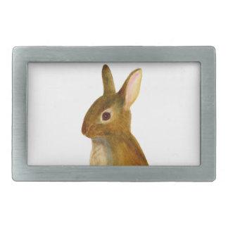 Baby Rabbit Watercolor Painting Wildlife Artwork Rectangular Belt Buckles