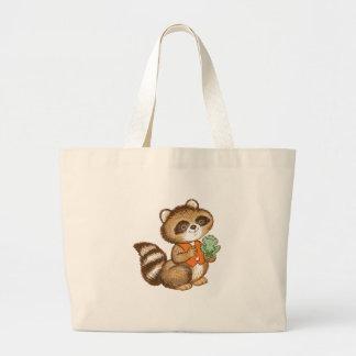 Baby Raccoon in Orange Vest with Best Friend Frog Canvas Bags