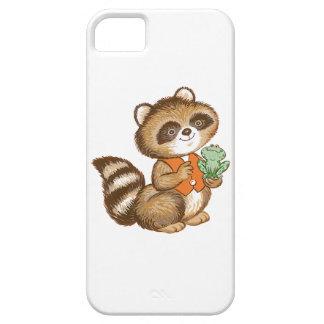 Baby Raccoon in Orange Vest with Best Friend Frog iPhone 5/5S Covers