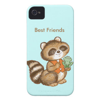 Baby Raccoon in Orange Vest with Best Friend Frog iPhone 4 Cover