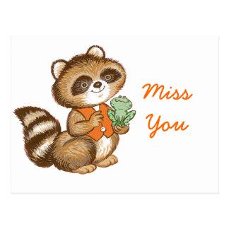 Baby Raccoon in Orange Vest with Best Friend Frog Postcard