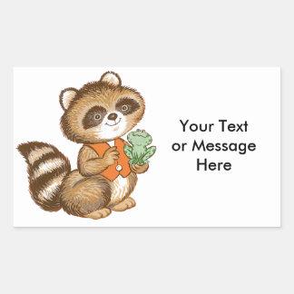 Baby Raccoon in Orange Vest with Best Friend Frog Rectangular Sticker