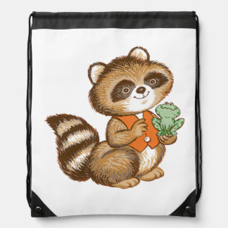 Baby Raccoon in Orange Vest with Green Frog Friend Drawstring Backpack