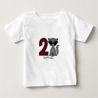 Baby Raccoon Plaid Second Birthday Shirt