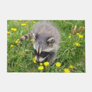 Baby racoon door mat