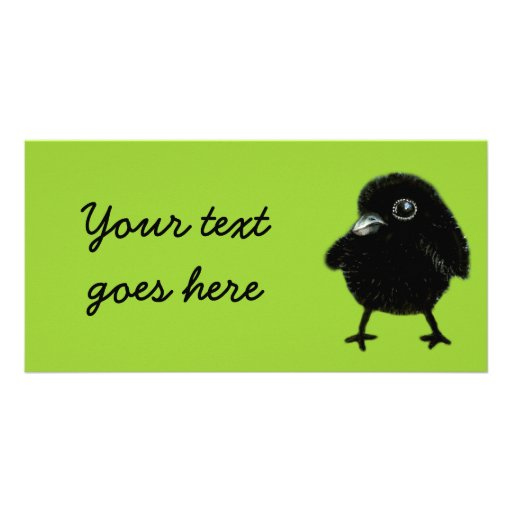 Baby raven customized photo card