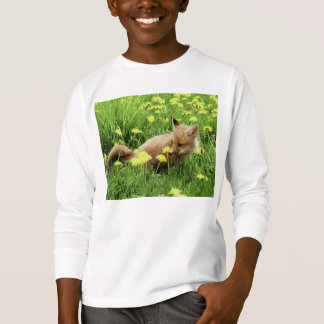 Baby Red Fox in Green Field With Yellow Flowers T-Shirt