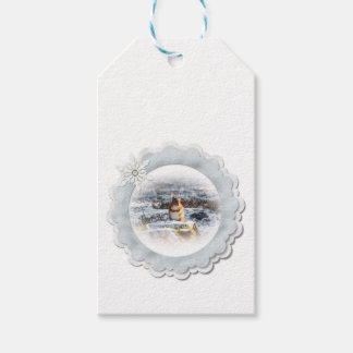 baby red squirrel gift tag