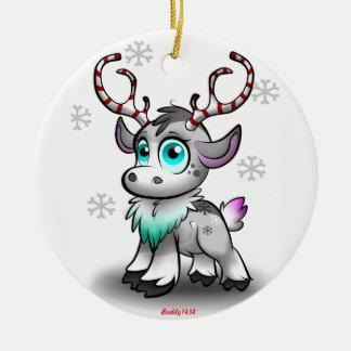 Baby Reindeer Round Ceramic Decoration