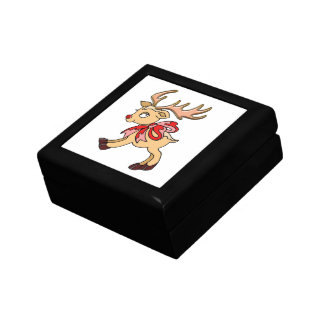 Baby Reindeer with Red Bow Gift Box