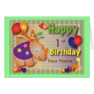 Baby Rhino::Birthday Greeting Card