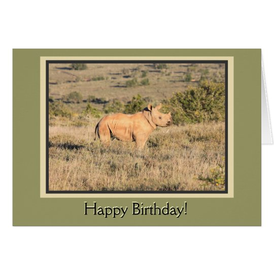 Baby Rhino Happy Birthday Card