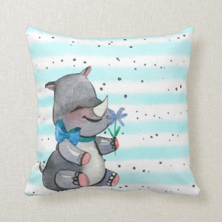 Baby Rhino With Blue Flower and Bow Cushion