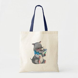Baby Rhino With Blue Flower and Bow Tote Bag