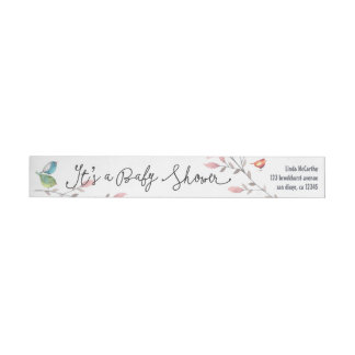 Baby Rhinoceros & Birdies Painted Baby Shower Wrap Around Label