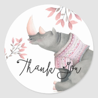 Baby Rhinoceros & Birdies Painted Thank You Classic Round Sticker