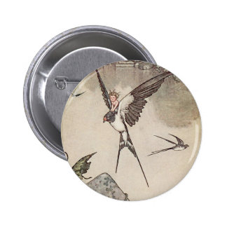 Baby Riding Sparrow, Andersen's Fairy Tales 6 Cm Round Badge