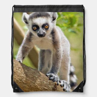 Baby ring-tailed lemur drawstring bag