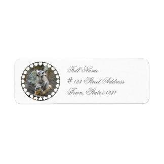Baby Ringtailed Lemur Return Address Mailing Label Return Address Label