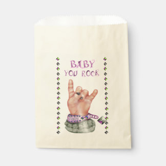 BABY ROCK MUSIC  CARTOON  bag Ecru Favor Favour Bags