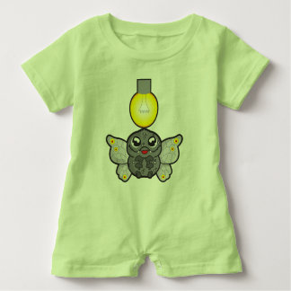 Baby Romper, Key Lime Green with moth Baby Bodysuit