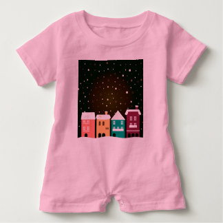 Baby Romper PINK with Village hand-drawn Art Baby Bodysuit