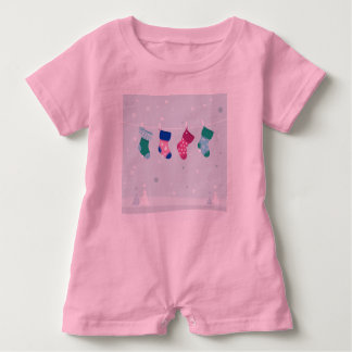 Baby romper with hand-drawn Socks PINK Baby Bodysuit