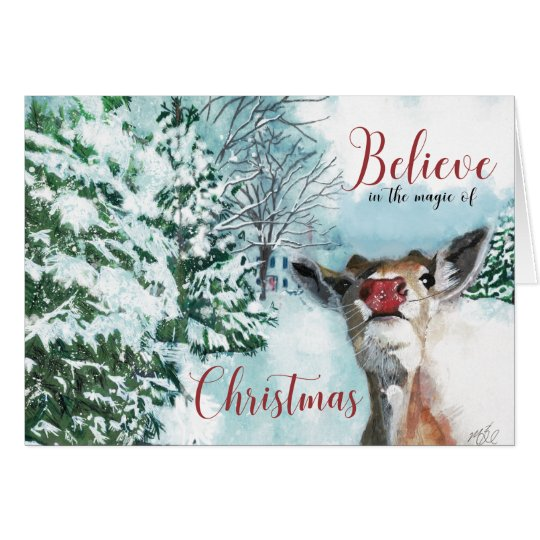 Baby Rudolph Christmas Card - Believe