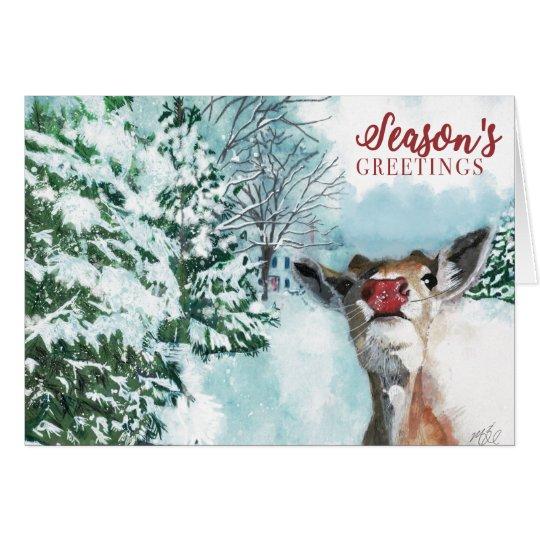 Baby Rudolph Christmas Card - Season's Greetings