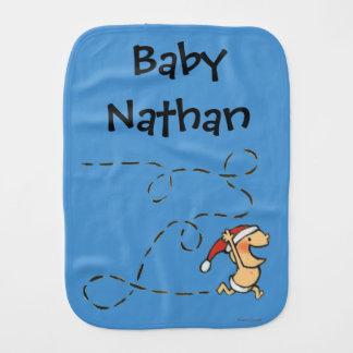 Baby Running On Christmas Morning Burp Cloth