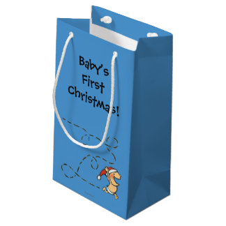 Baby Running On Christmas Morning Small Gift Bag